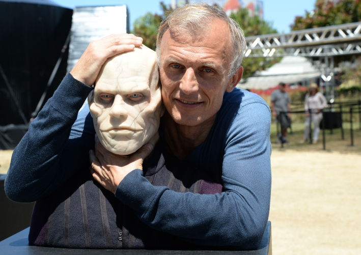 "SAN DIEGO, CA - JULY 21: Actor Richard Sammel poses with A wax figure of Quinlan from ""The Strain"" at FXhibition during Comic-Con International 2016 at Hilton Bayfront on July 21, 2016 in San Diego, California. (Photo by Michael Kovac/Getty Images for FX)"